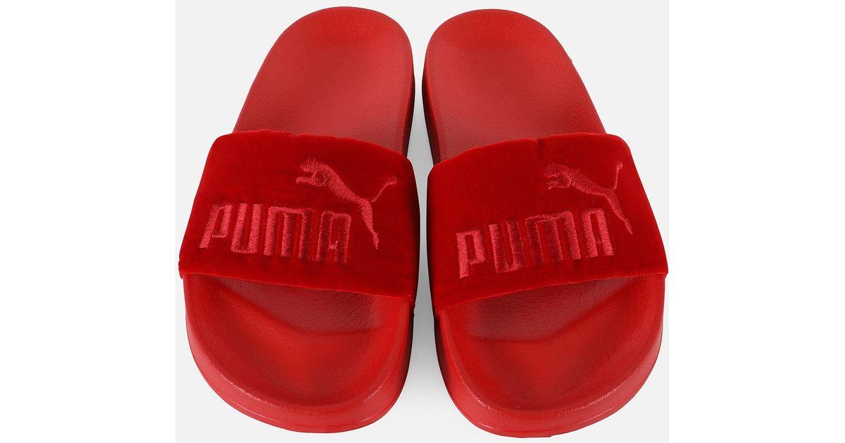 PUMA Leadcat Velvet Slides in Red - Lyst