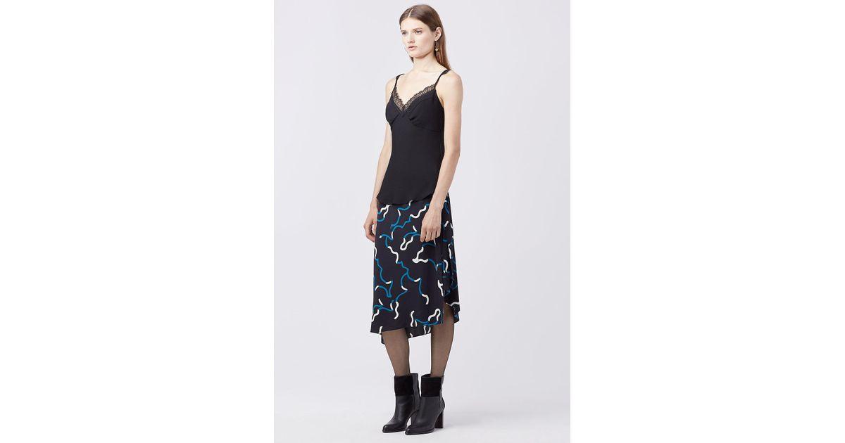 7b615b52a14d2 Diane Von Furstenberg Dvf Margarit Silk Bias-cut Top in Black - Lyst