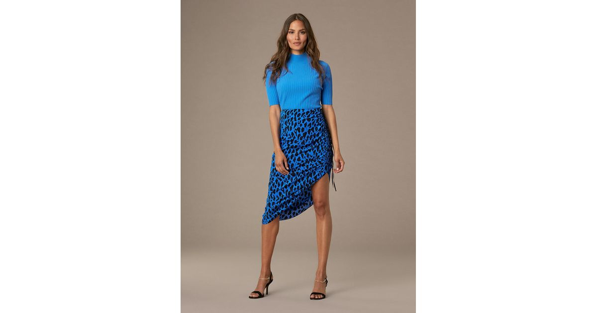 a1a1d61903 Diane von Furstenberg Ruched Leopard-print Silk Pencil Skirt in Blue - Lyst