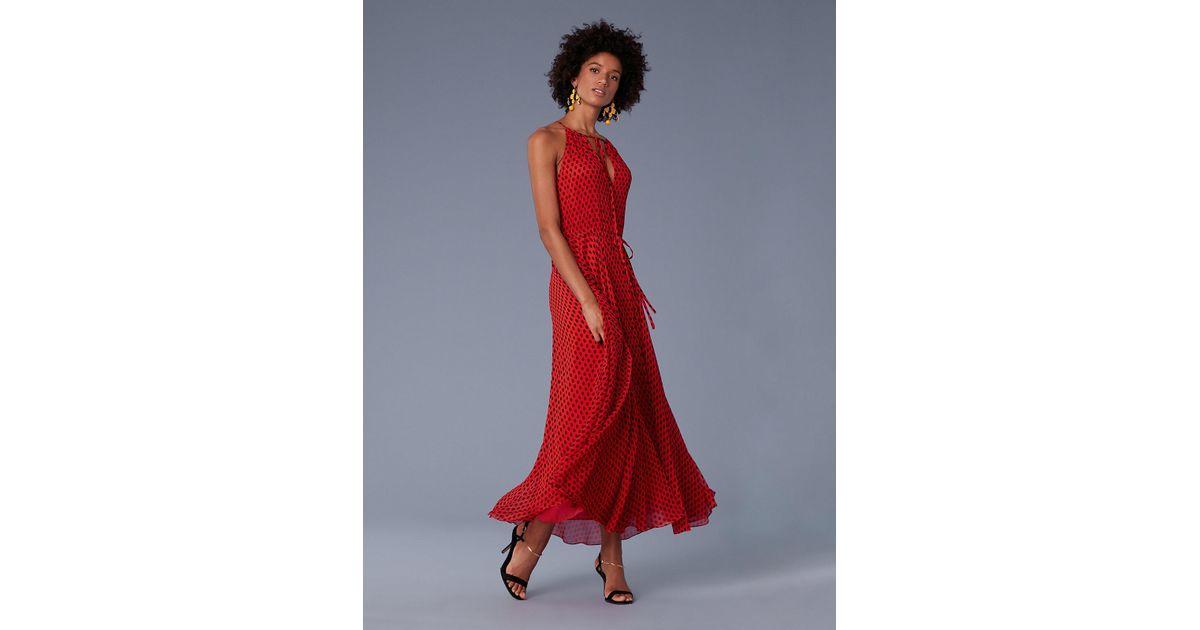 fa365f2c9c7 Diane von Furstenberg Keyhole Waist Tie Maxi Dress in Red - Lyst