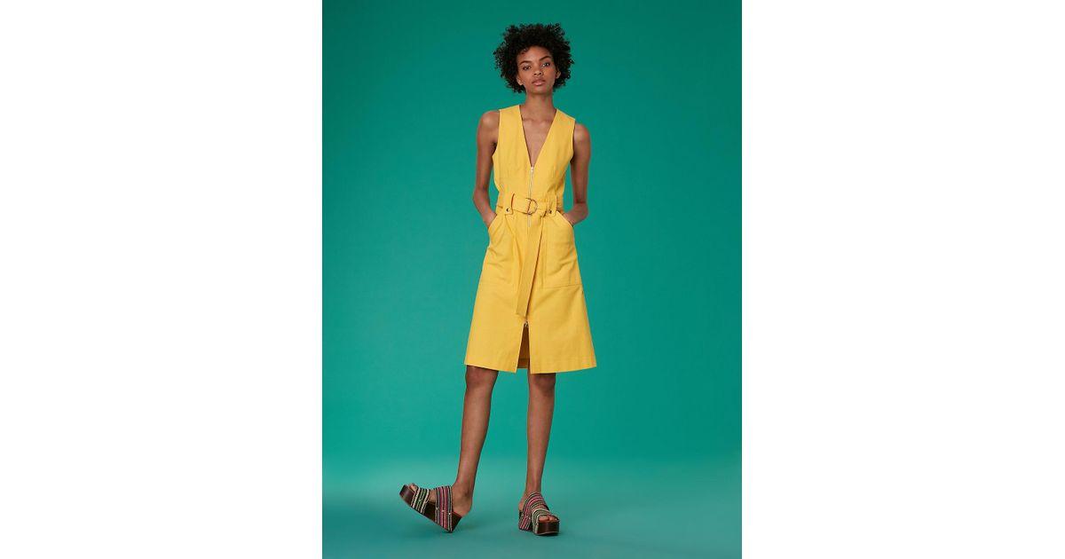 1a48deaae1cd Lyst - Diane von Furstenberg Sleeveless A-line Zip Front Denim Dress in  Yellow