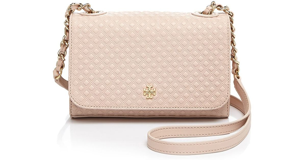 a7a9199b1a49 Lyst - Tory Burch Marion Embossed Shrunken Shoulder Bag in Natural
