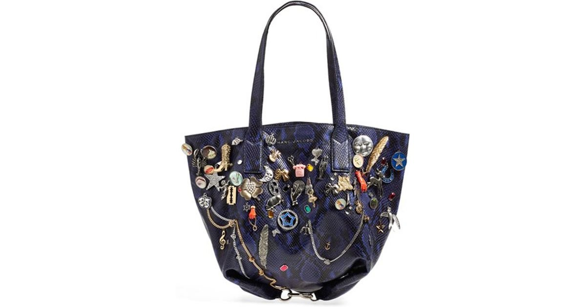 b1d60043d926 Lyst - Marc Jacobs  wingman  Embellished Leather Shopping Tote