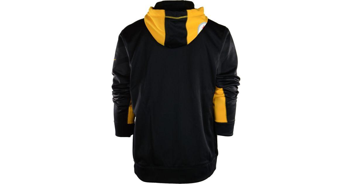 new product 16831 1e8de Nike Black Men'S Pittsburgh Steelers Football Ko Full-Zip Therma-Fit Hoodie  for men