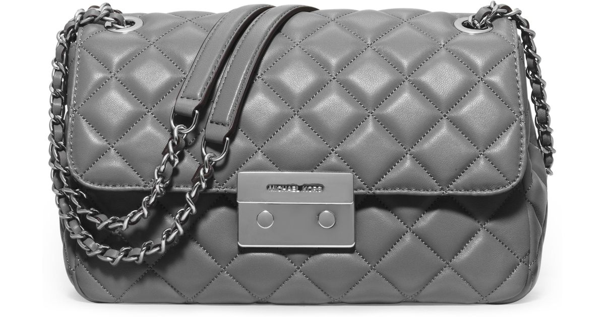 ee55eab12919 MICHAEL Michael Kors Sloan Large Quilted Leather Chain Shoulder Bag in Gray  - Lyst