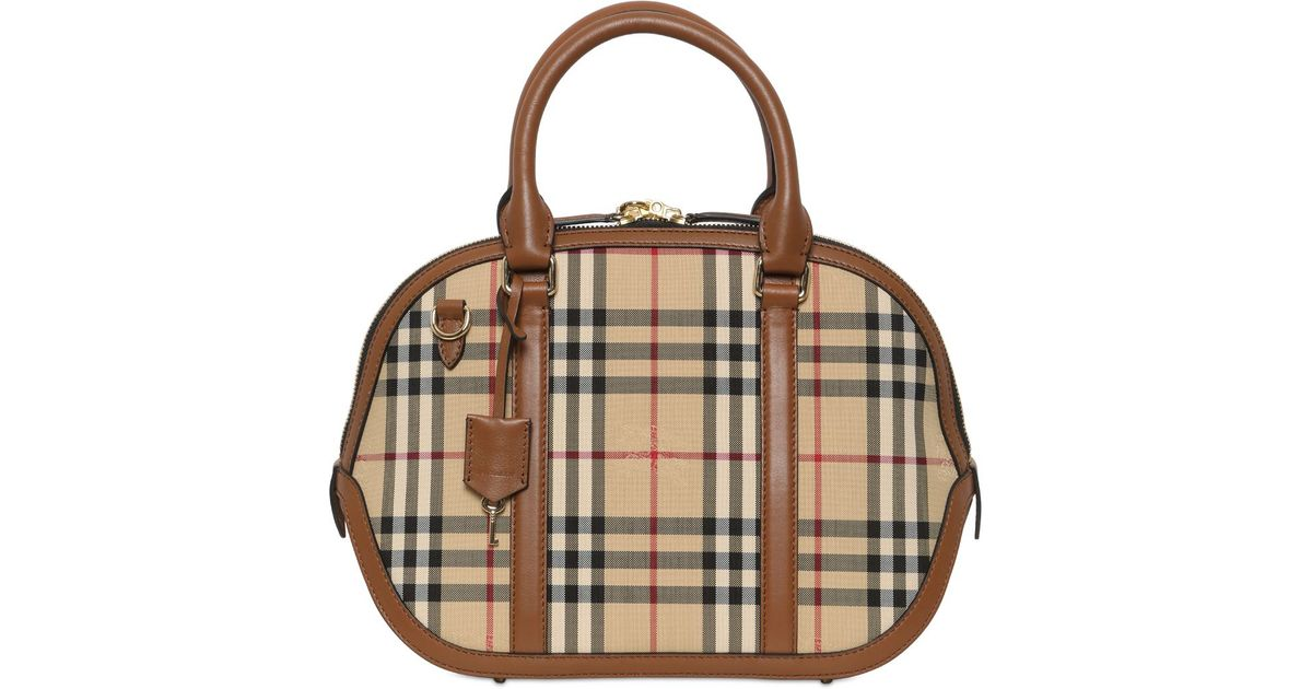 98088ed91d90 Lyst - Burberry Small Orchard Bridle House Check Bag in Brown