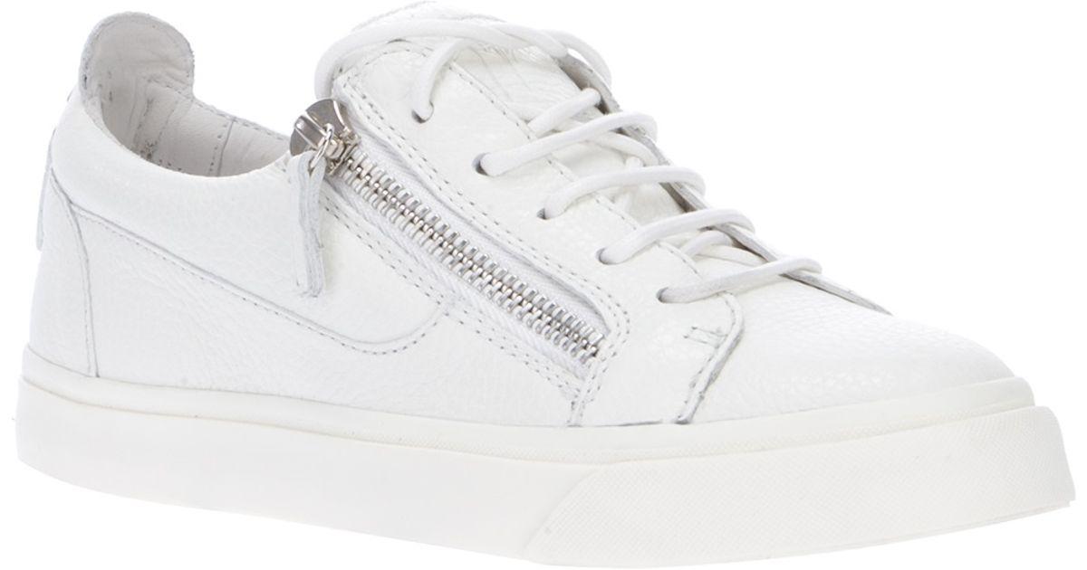 eca6f3814f3f9 Giuseppe Zanotti Zip Detailed Sneakers in White - Lyst