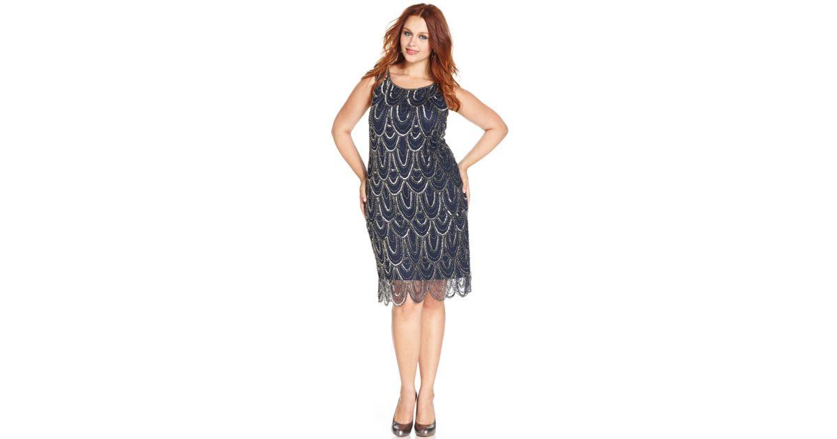 Lyst Pisarro Nights Plus Size Beaded Scallop Hem Dress In Blue