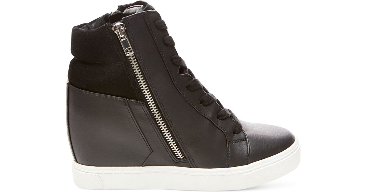 22cde5451e8 Steve Madden Black Lagoon High Top Wedge Sneakers