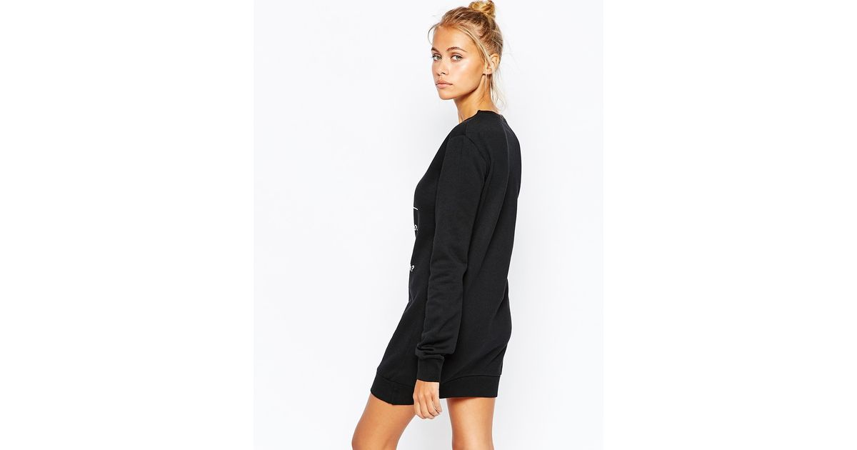 Asos christmas jumper dress in black - Clothing Sweater Dress With Winter Fashion Print In Black Lyst