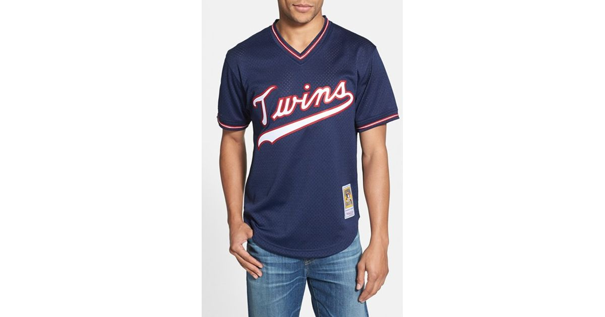 buy online 6300f 00d12 Mitchell & Ness Blue 'kirby Puckett - Minnesota Twins' Authentic Mesh Bp  Jersey for men