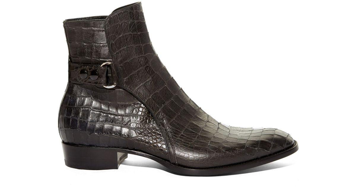 6d01a068a Saint Laurent Crocodile-Effect Leather Chelsea Boots in Black for Men - Lyst