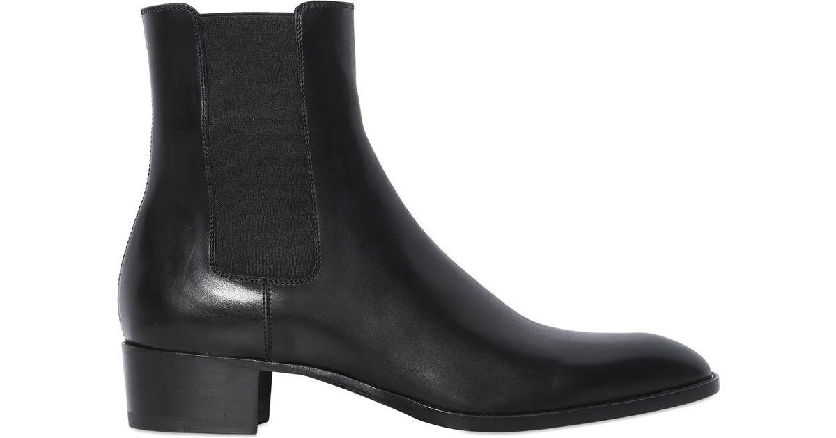 1bd7eaaa Saint Laurent Black 40mm Wyatt Leather Chelsea Cropped Boots for men