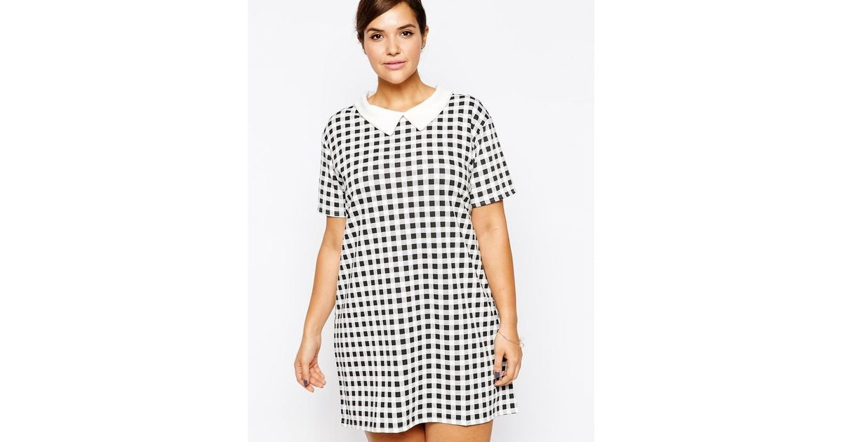 Lyst Ax Paris Plus Size Shift Dress With Collar In Gingham Check