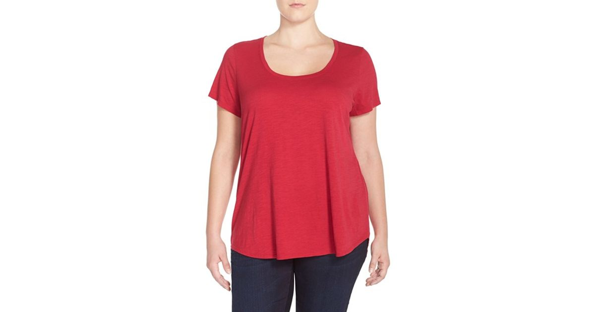Eileen fisher scoop neck organic cotton t shirt in red lyst for Eileen fisher organic cotton t shirt