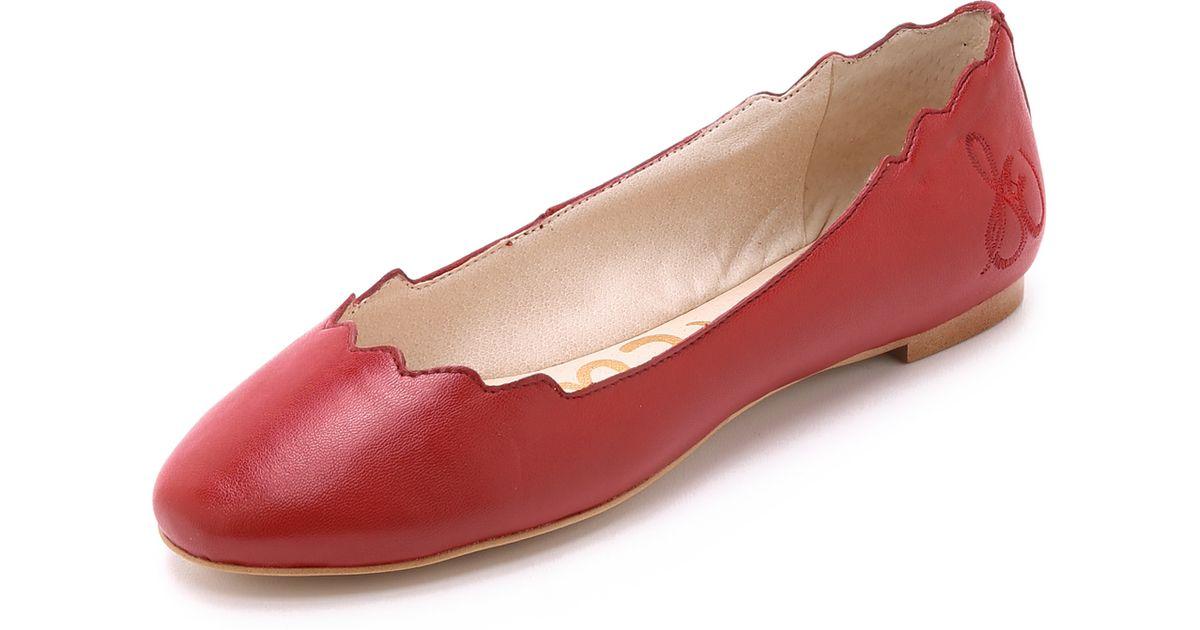 493233c17 Sam Edelman Augusta Scalloped Ballet Flats - Desert Red in Red - Lyst