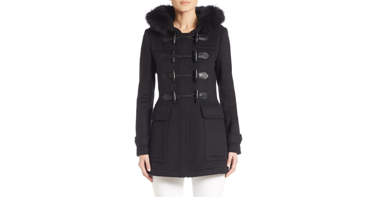 Burberry brit Blackwell Fur-trimmed Duffle Coat in Black | Lyst
