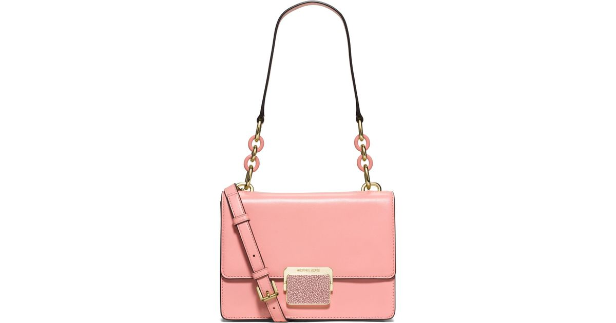 Michael kors Cynthia Small Leather Shoulder Bag in Pink | Lyst