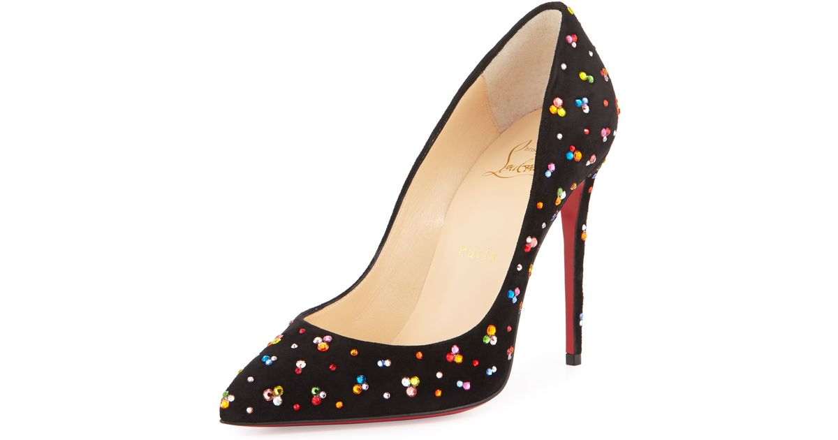 5f5ba428bbf Christian Louboutin Black Pigalle Follies Crystal Red Sole Pump