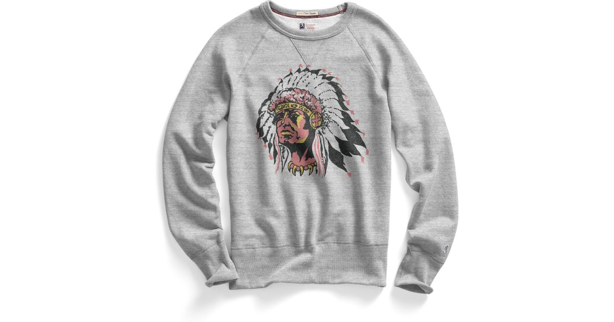 todd snyder indian chief sweatshirt in gray for men. Black Bedroom Furniture Sets. Home Design Ideas