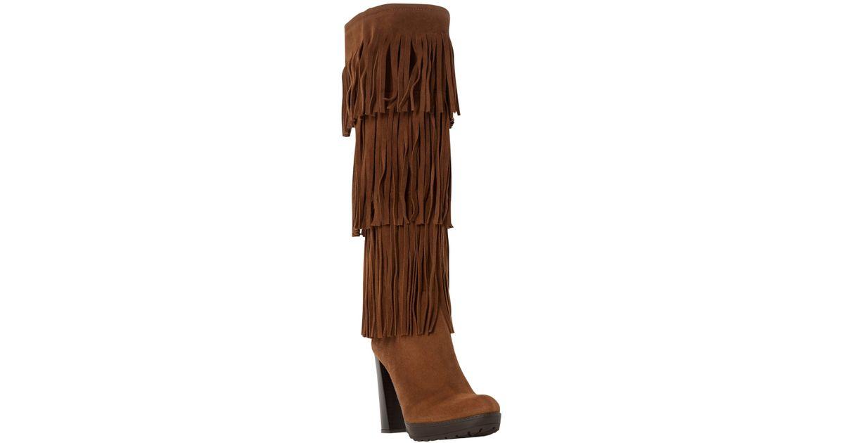 54f0c2e06da6c Dune Stetson Block Heeled Fringe Detail Knee Boots in Brown - Lyst