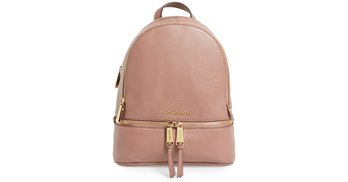 ffaf19418c73 ... new zealand lyst michael michael kors small rhea zip leather backpack  in pink d177a d9096