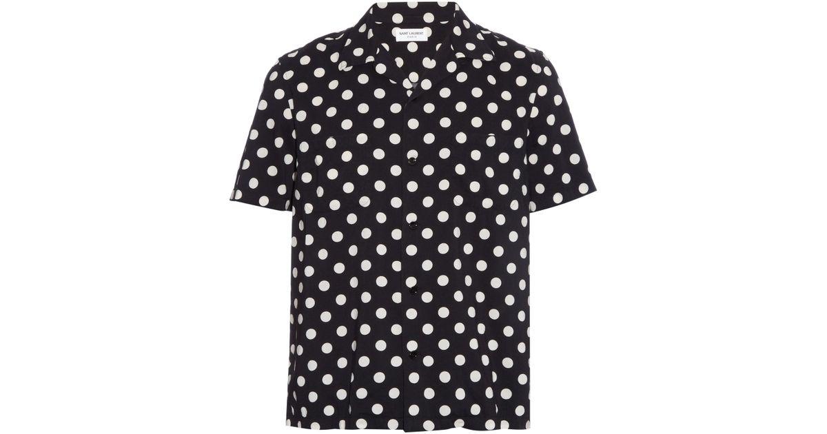 8c9cec5f7790e Saint Laurent Polka-dot Print Cotton-blend Shirt in Black for Men - Lyst