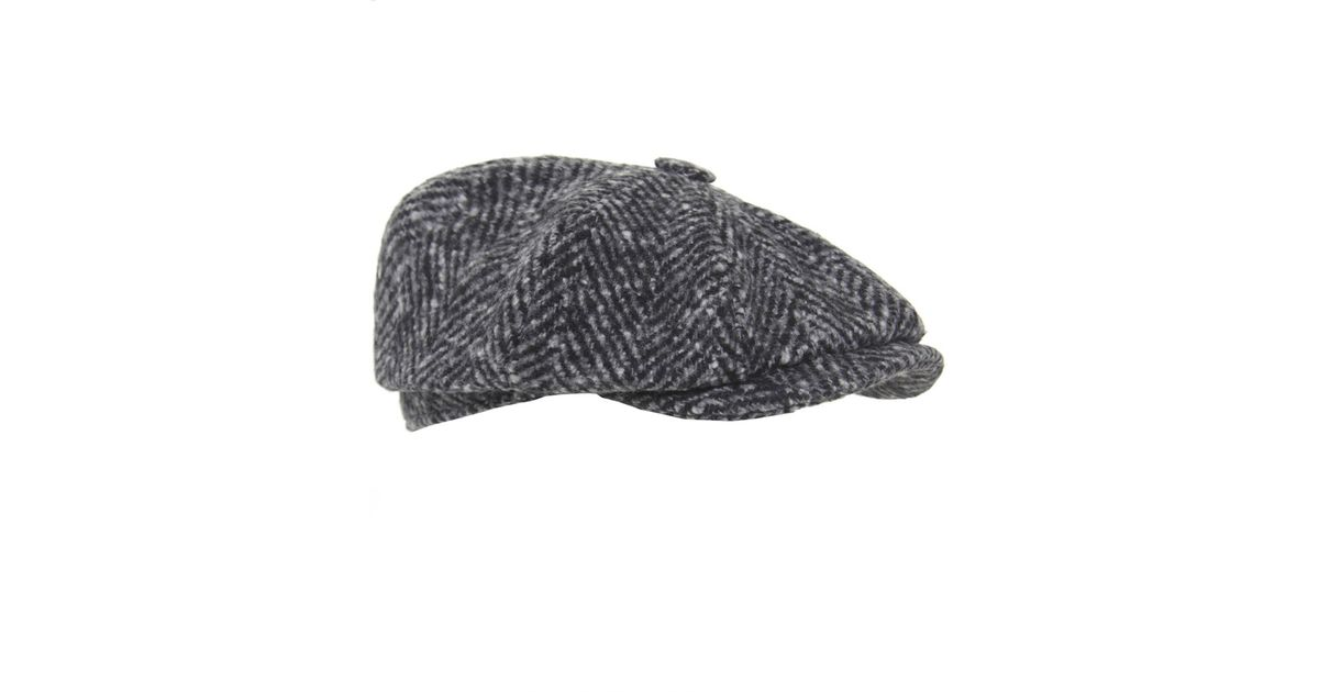 e6f388aae55ec Olney Chunky Herringbone Tweed Cap in Gray for Men - Lyst