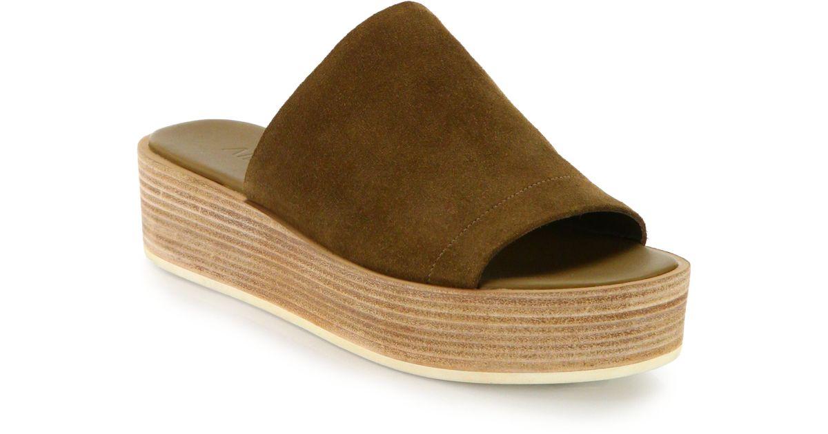 fef91482cb5 Lyst - Vince Saskia Leather Platform Slide Sandals in Brown