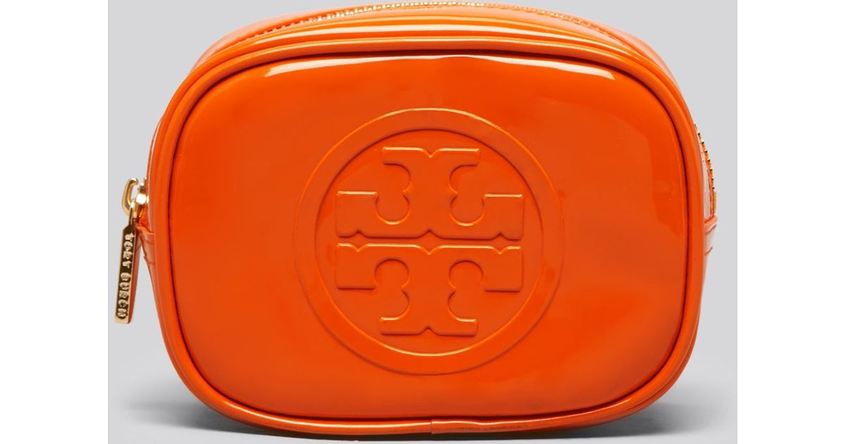 fd858fe1666 Lyst - Tory Burch Cosmetic Case Embossed Patent Small Classic in Orange