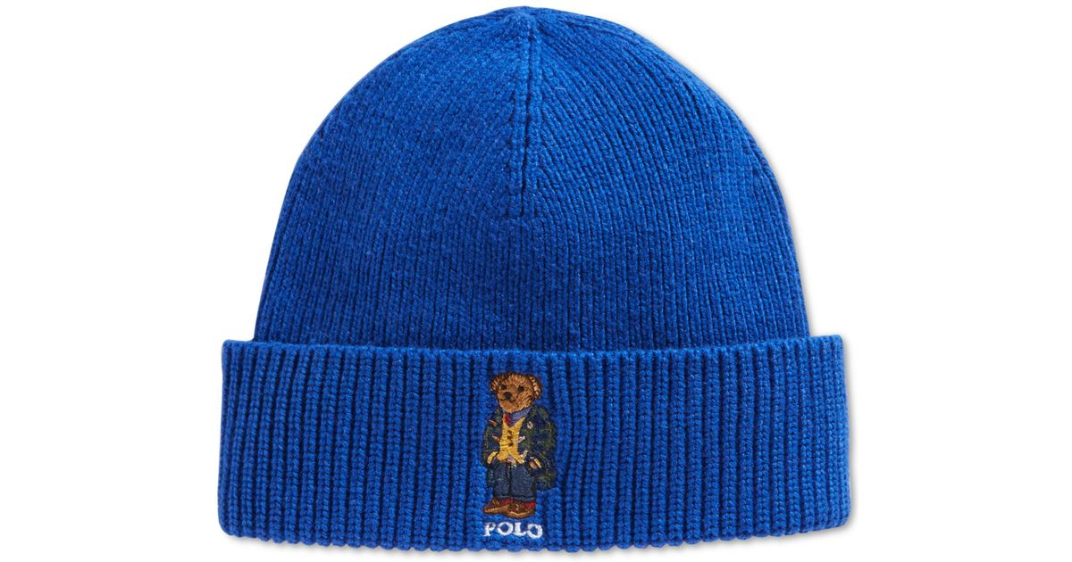 7eceb9ebb Polo Ralph Lauren Blue Blackwatch Bear Beanie for men