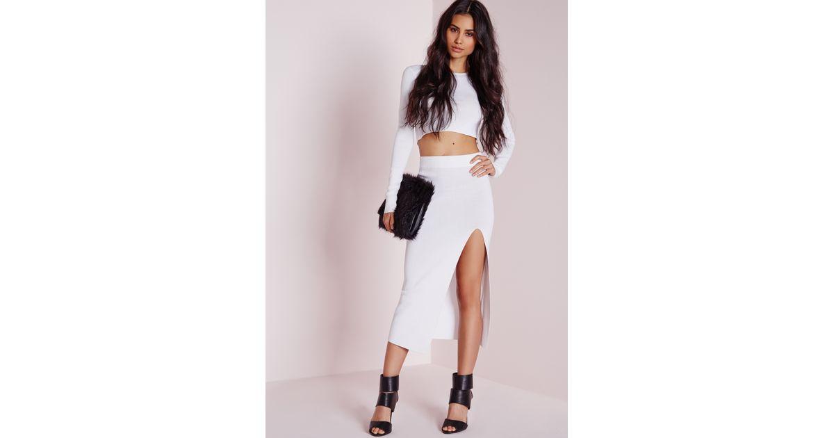 Missguided Thigh Split Crisp Midi Skirt White in White | Lyst