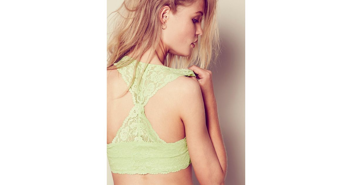 5e8994375f1 NWT Free People Lime Galloon Lace Halter Bralette t