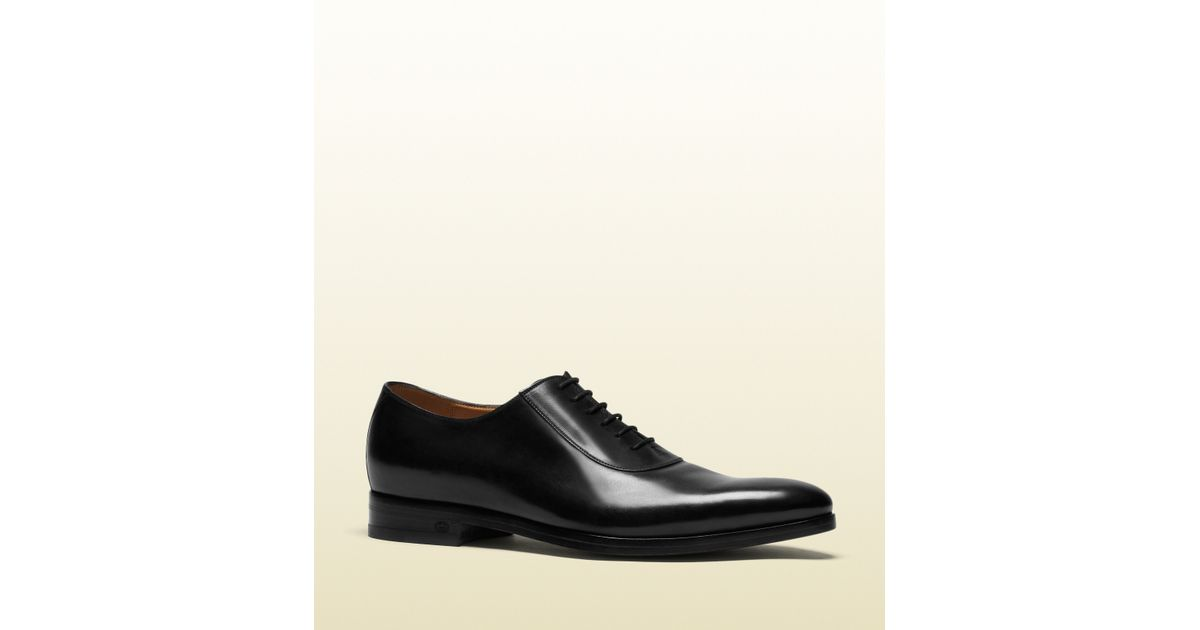 4fc2465cd Lyst - Gucci Leather Lace-up Shoe in Black for Men