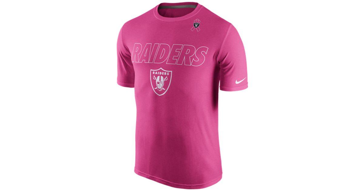 best website 758dd bbb84 Nike Pink Men's Oakland Raiders Breast Cancer Awareness Legend T-shirt for  men