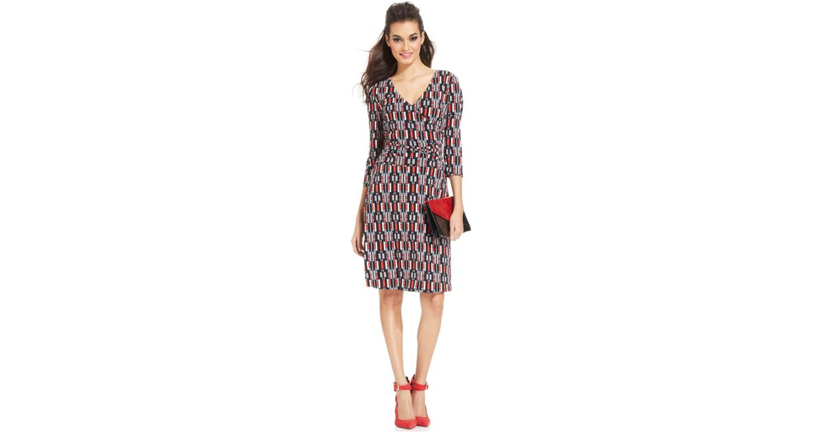f6bac6da3c Lyst - Nine West Geo-Print Faux-Wrap Dress in Pink