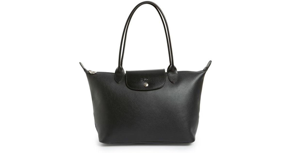 Longchamp Black 'le Foulonne' Leather Shoulder Tote