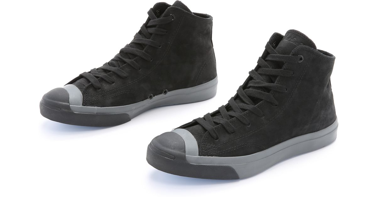 df53f89225cbb6 Lyst - Converse Jack Purcell Nubuck Mid Top Sneakers in Black for Men
