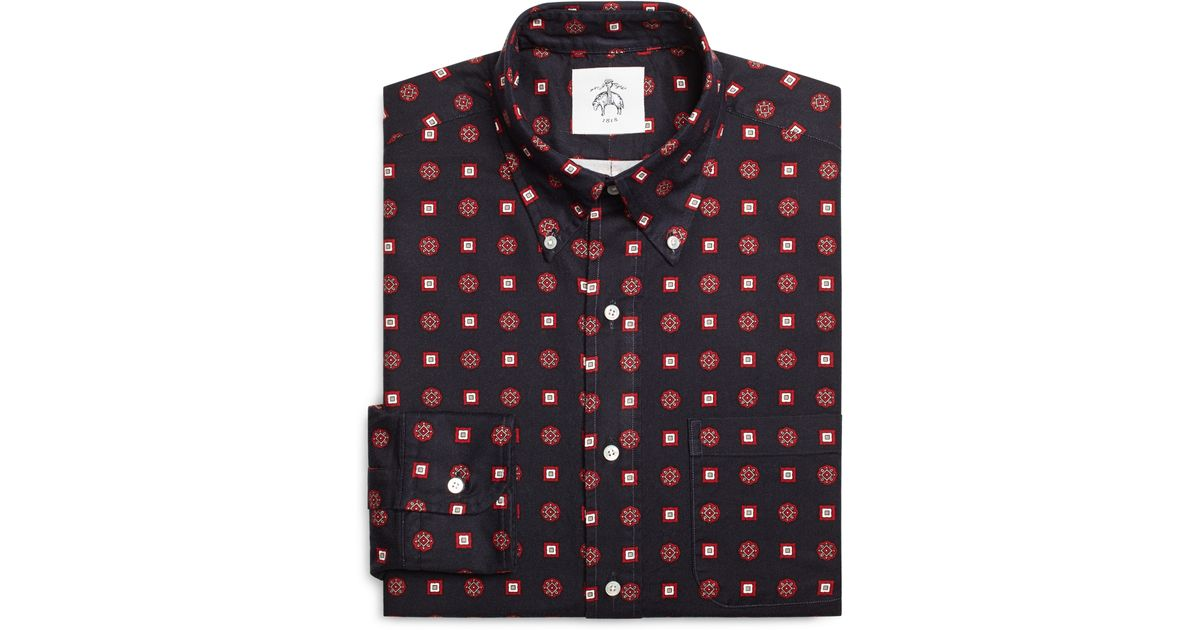 Brooks Brothers Navy Red And White Foulard Button Down