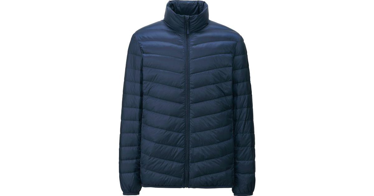 uniqlo men ultra light down jacket in blue for men navy lyst. Black Bedroom Furniture Sets. Home Design Ideas