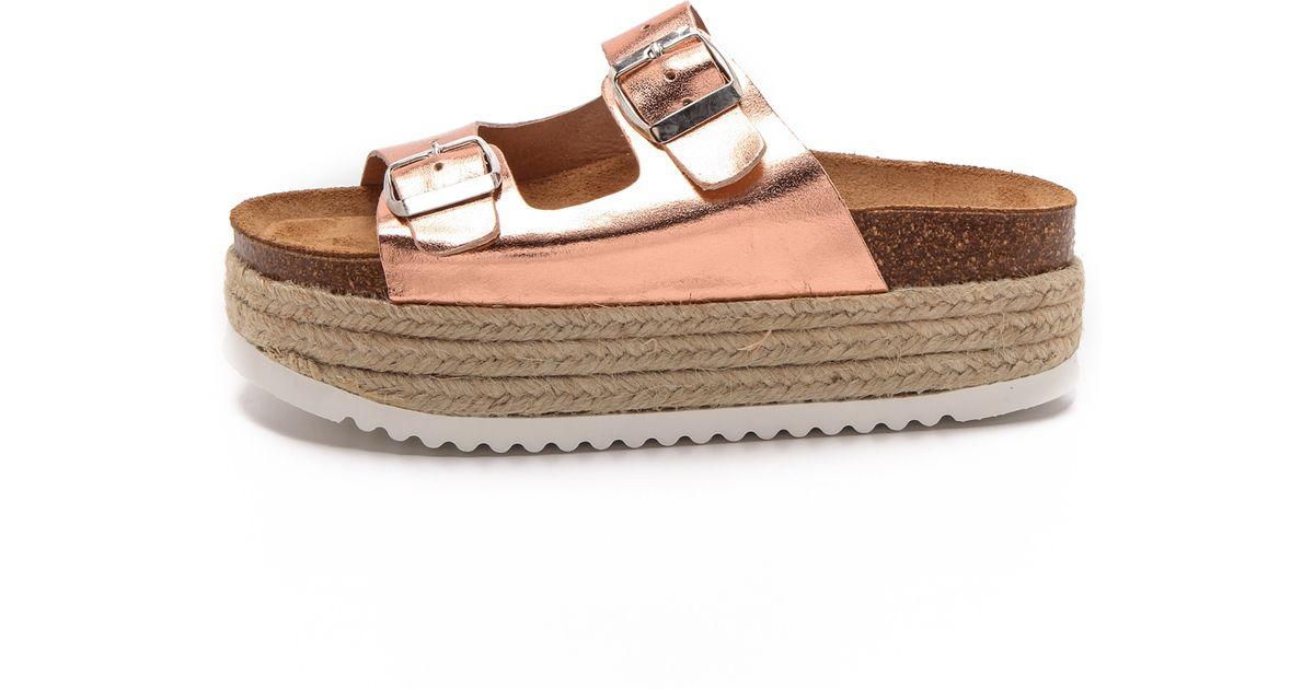 86584677f76f Lyst - Jeffrey Campbell Aurelia Platform Espadrille Sandals - Rose Gold in  Pink
