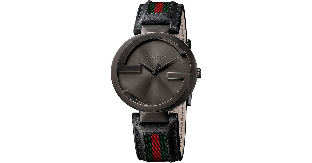 Gucci Mens Interlocking Collection Black Pvd Watch In