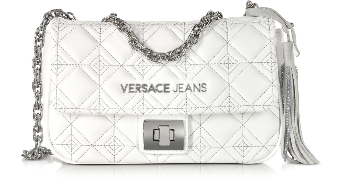 0bc692e85ec8 Versace Jeans White Quilted And Embroidered Crossbody Bag in White - Lyst