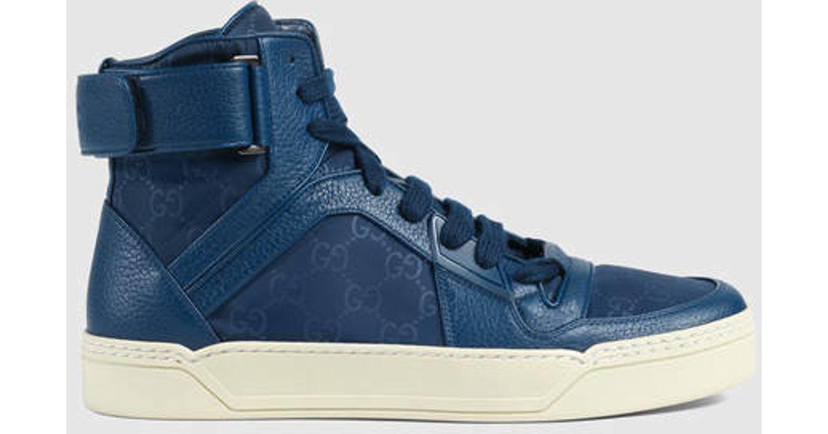 fe14d74e7 Gucci Nylon Ssima High-top Sneaker in Blue for Men - Lyst