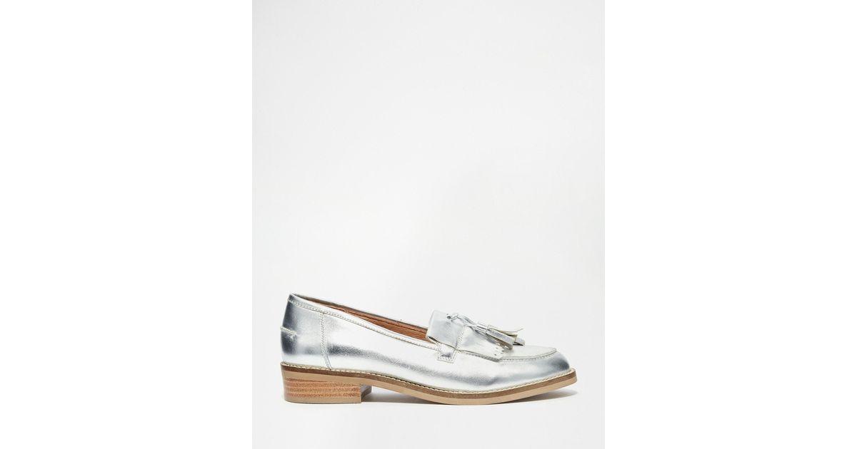 896d596eb5a Lyst - Steve Madden Meela Silver Tassel Flat Loafer Shoes in Metallic