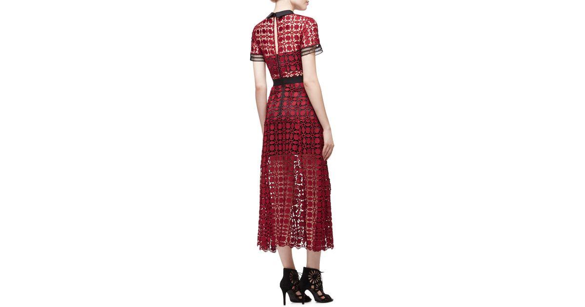 cb4db54922e4 Self-Portrait Short-sleeve Guipure-lace Midi Dress in Red - Lyst