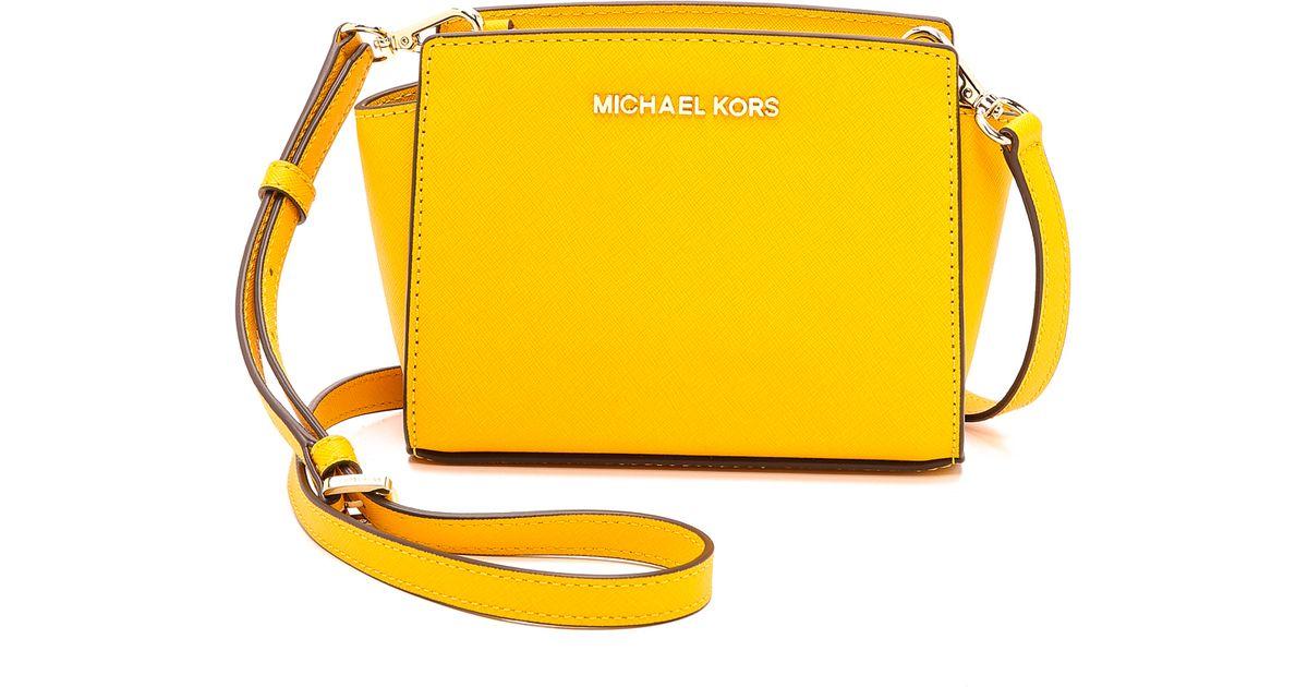 Michael Kors Yellow Selma Mini Messenger Bag Chili