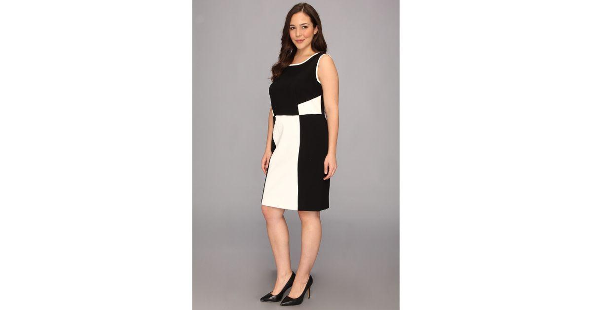 Lyst Dkny Plus Size Sleeveless Dress W Faux Leather Trim In Black