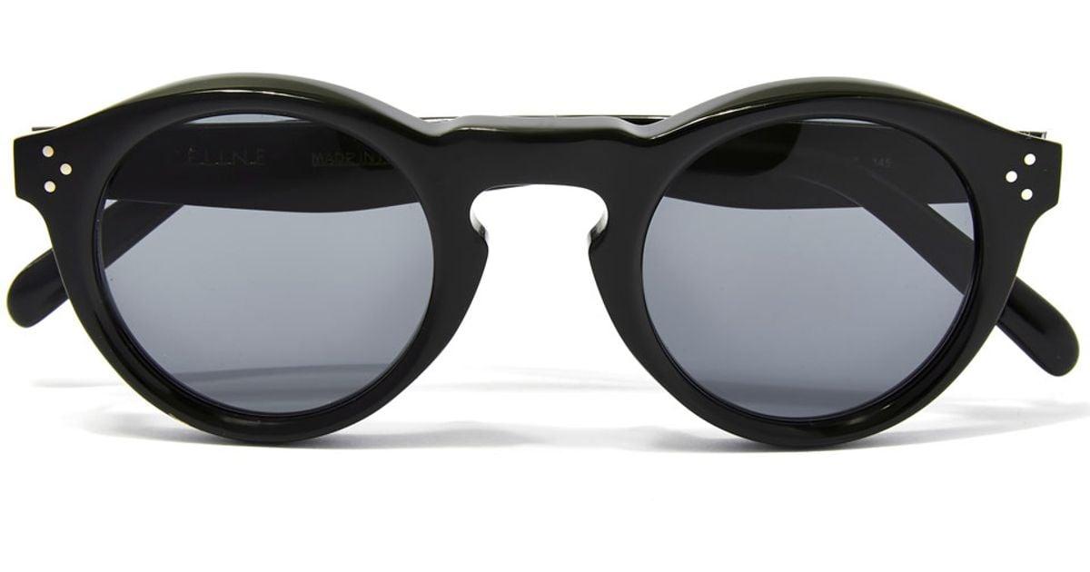 38ef146cd4d Lyst - Céline Black Round Keyhole Sunglasses in Black