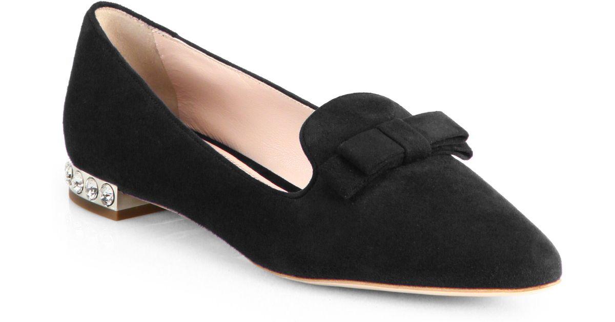 0670906bac7c Lyst - Miu Miu Suede Jeweled Heel Loafers in Black